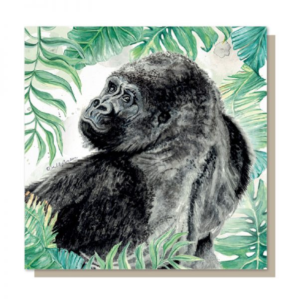 Sweet Design everyday greeting card with a beautifully illustrated image of an endangered Silver Back Gorilla