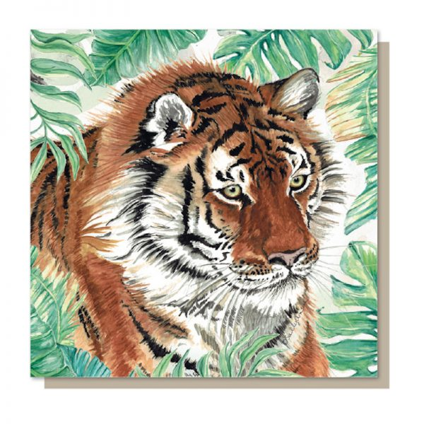 Sweet Design everyday greeting card with a beautifully illustrated image of an endangered Tiger