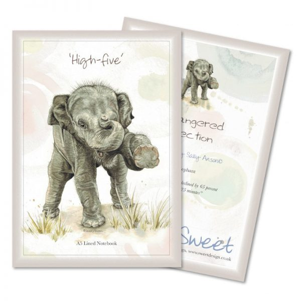 Sweet Design Notebook with a beautifully illustrated image of an endangered Baby Elephant