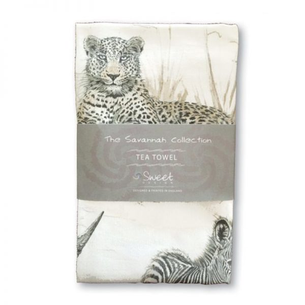 Sweet Design 100% Cotton Tea Towel with beautifully illustrated images of a variety of endangered animals