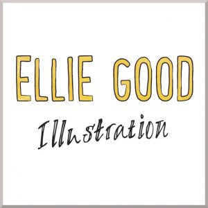 Ellie Good Logo in yellow writing and illustration in back underneath
