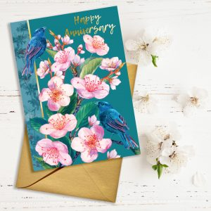 Happy Anniversary occasions greeting card featuring spring cherry blossom and birds