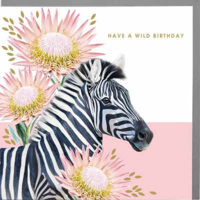 Zebra ona white and pink back fround with floral images