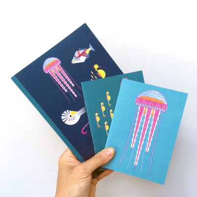 A selection of greeting cards with an underwater, sea world theme, jellyfish & fish