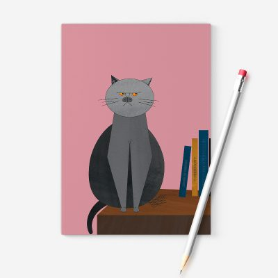 A pink notebook with a picture of a grumpy cat sitting on a desk