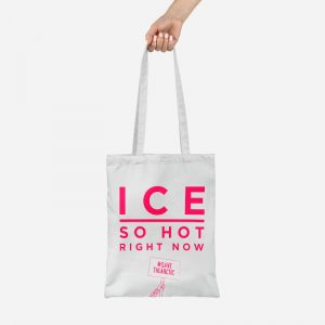 A white eco friendly tote bag stating Ice so hot right now#coolearth #fact