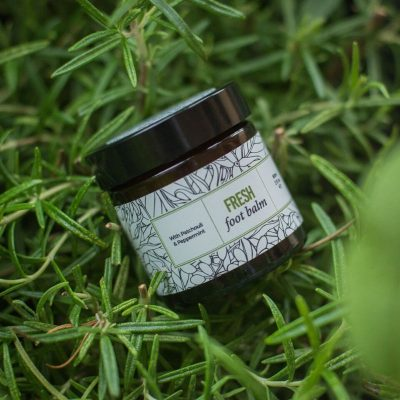 a pot of fresh foot balm with patchouli and peppermint