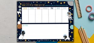 Weekly Planner with a dark blue background surrounded by dogs and cats in space - Panoramic image
