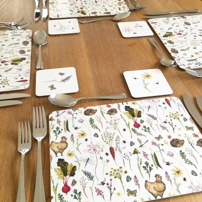 a table set with country inspired Annabel Rose placemat and coasters