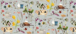 country inspired illustration duck, pig, wellies, flowers - Panoramic