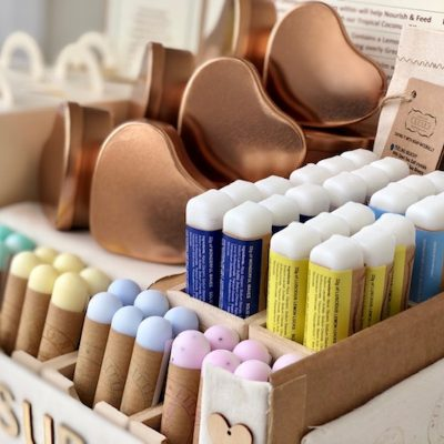 shop display of vegan, eco friendly plastic free shampoo and soap sticks