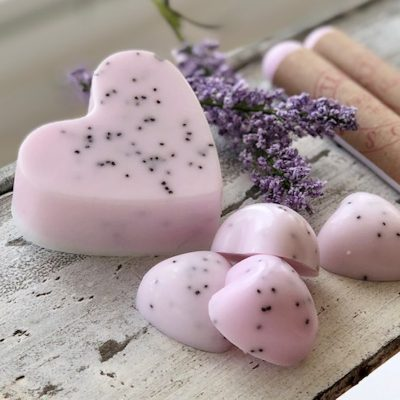 pink heart shaped soap on a table