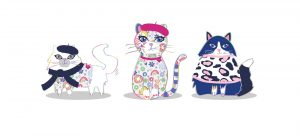 3 cats wearing hats sitting in a row - panaramic
