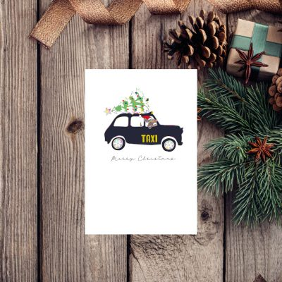 merry Christmas card with an illustration of a mouse in a Christmas hat driving a taxi and a Christmas tree on top