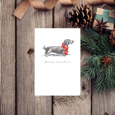 Merry Christmas card with an illustration of a dachshund dog wearing a Christmas scarf
