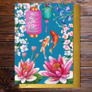 Greeting card featuring a flowers inspired by Japan