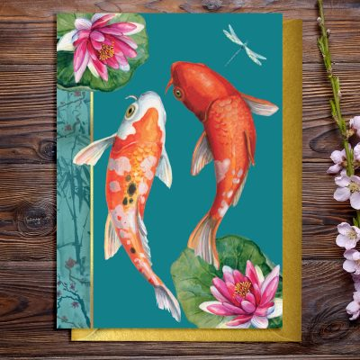 Greeting card featuring carp fish, Japanese inspired