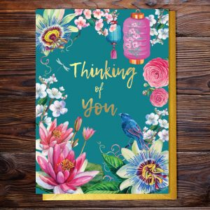 Thinking of you occasions greeting card featuring a flowers inspired by Japan