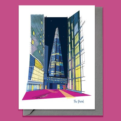 greeting card with modern illustration of the Shard in London