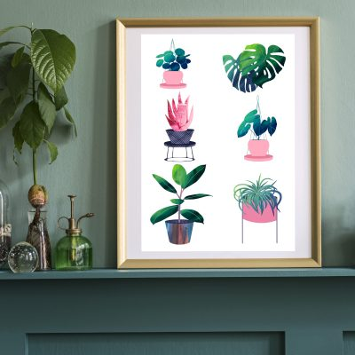framed print on a mantle piece featuring illustrations of houseplants