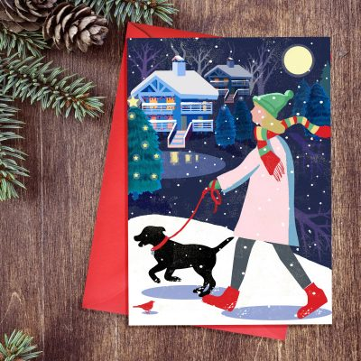 Christmas card in a retro Nordic style featuring a lady walking a dog in the snow