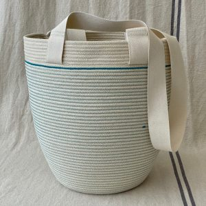 A unique shoulder bag handmade from unbleached cotton rope by Ruby Cubes