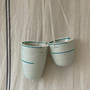 2 sizes of unbleached cotton rope hanging storage baskets made by Ruby Cubes
