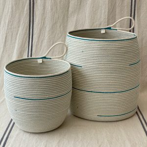 2 sizes of unbleached cotton rope storage baskets made by Ruby Cubes