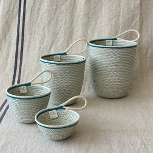 4 sizes of unbleached cotton rope storage baskets made by Ruby Cubes
