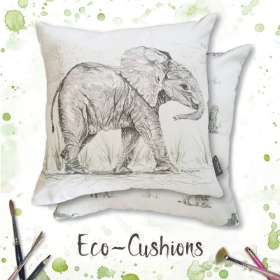 100% unbleached cotton cushion printed with an elephant