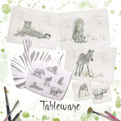 a range of placemats, coasters and chopping boards all illustrated with endangered animals from the savannah