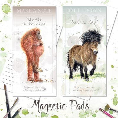 magnetic notepads with images of an orangutan and pony